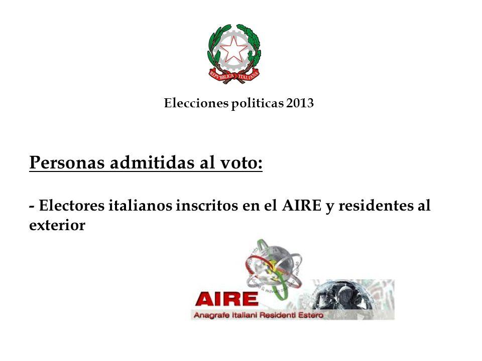 Personas admitidas al voto: