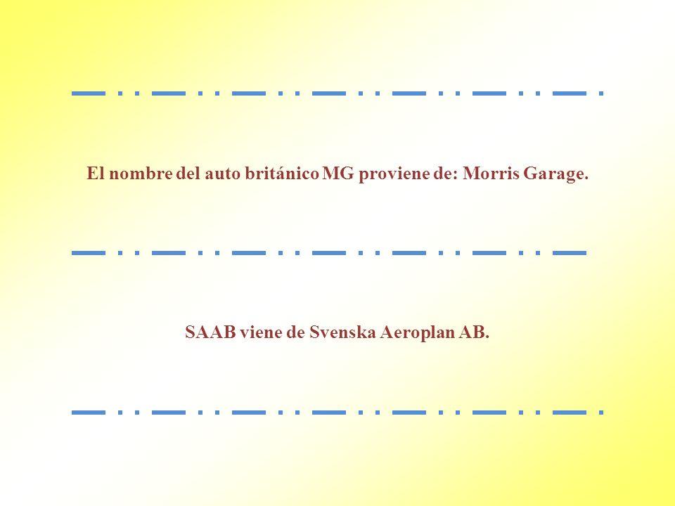El nombre del auto británico MG proviene de: Morris Garage.
