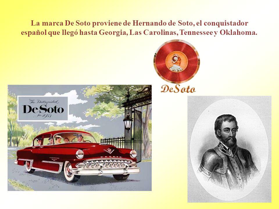 La marca De Soto proviene de Hernando de Soto, el conquistador español que llegó hasta Georgia, Las Carolinas, Tennessee y Oklahoma.