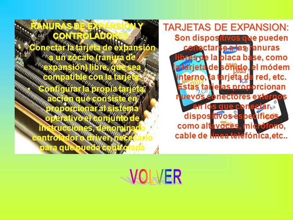 RANURAS DE EXPANSIÓN Y CONTROLADORES: