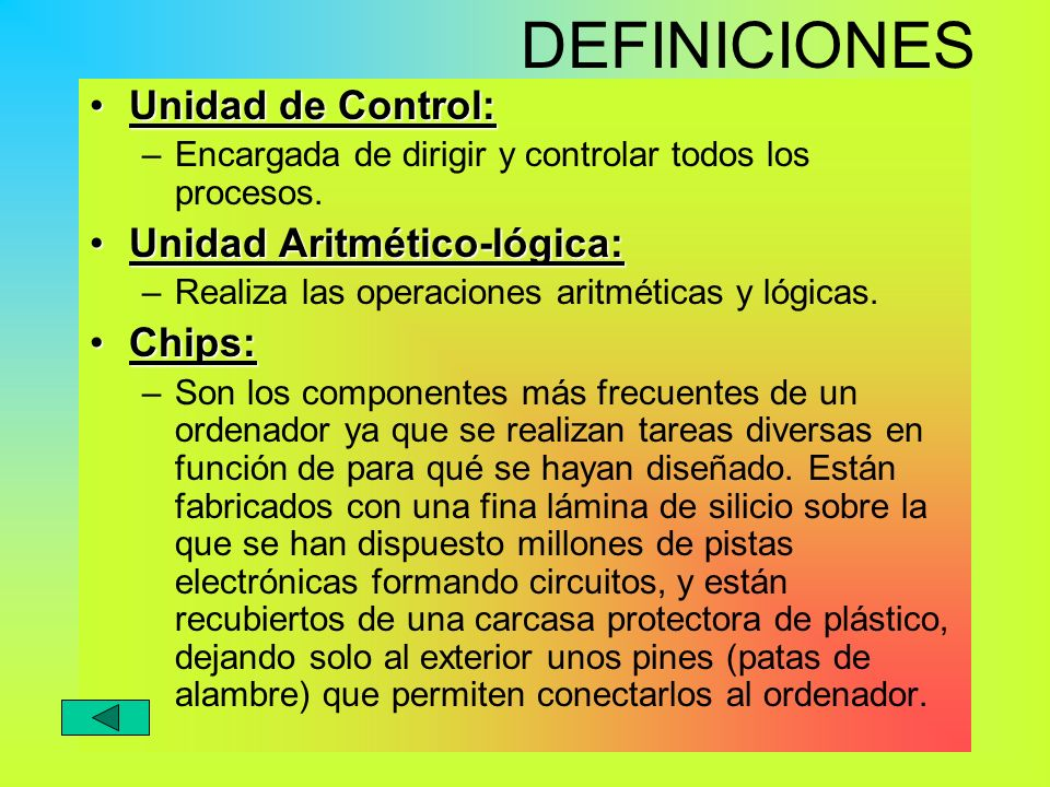 DEFINICIONES Unidad de Control: Unidad Aritmético-lógica: Chips: