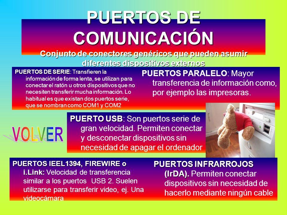 PUERTOS DE COMUNICACIÓN Conjunto de conectores genéricos que pueden asumir diferentes dispositivos externos