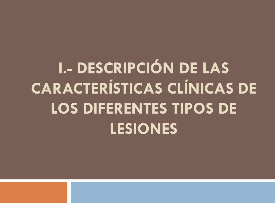 I.- Descripción de las características clínicas de los diferentes tipos de lesiones