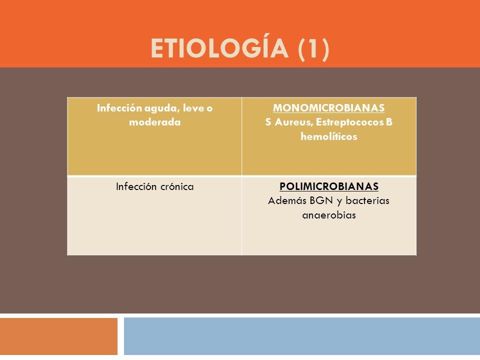 Infección aguda, leve o moderada S Aureus, Estreptococos B hemolíticos