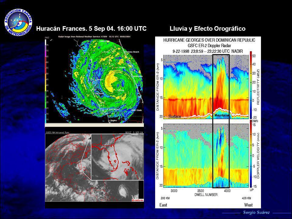 Huracán Frances. 5 Sep 04. 16:00 UTC Lluvia y Efecto Orográfico