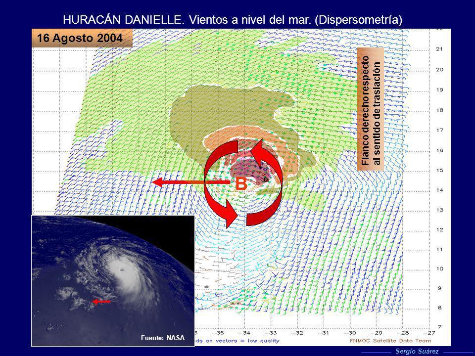 B HURACÁN DANIELLE. Vientos a nivel del mar. (Dispersometría)