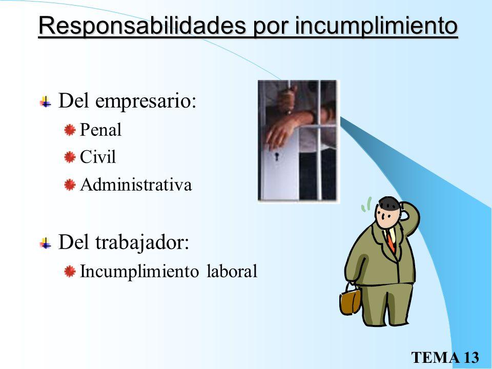 Responsabilidades por incumplimiento