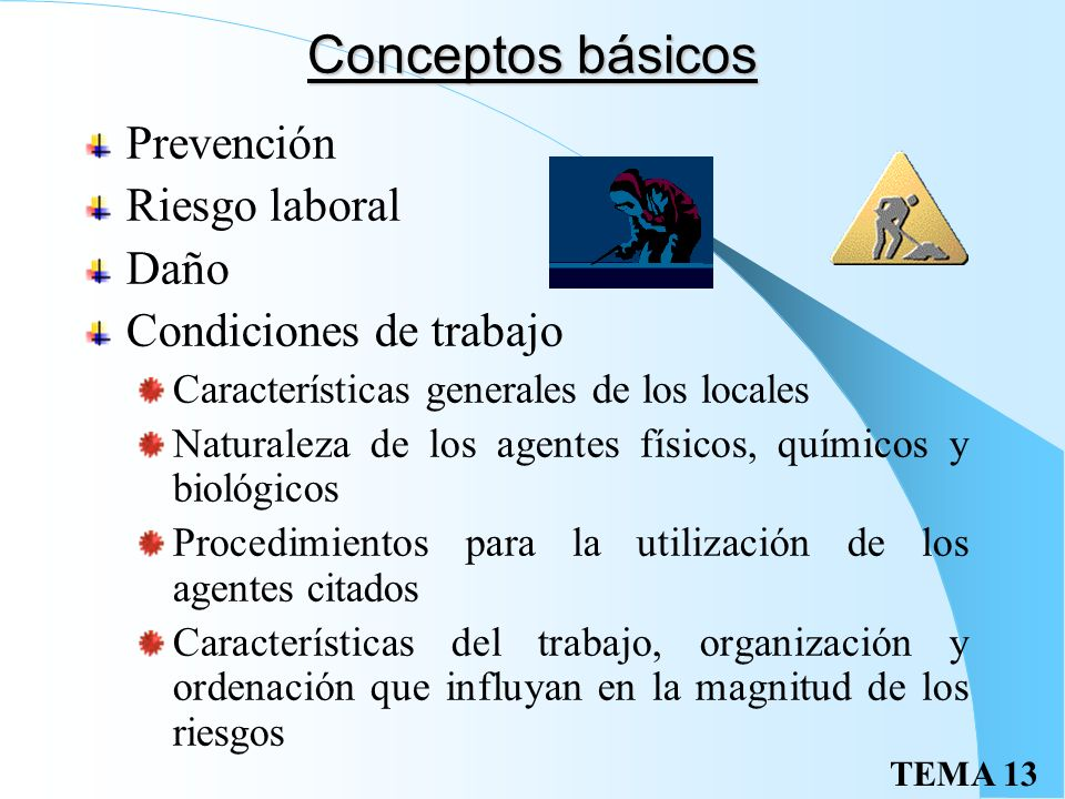 Conceptos básicos Prevención Riesgo laboral Daño