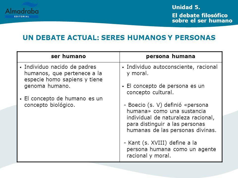 UN DEBATE ACTUAL: SERES HUMANOS Y PERSONAS