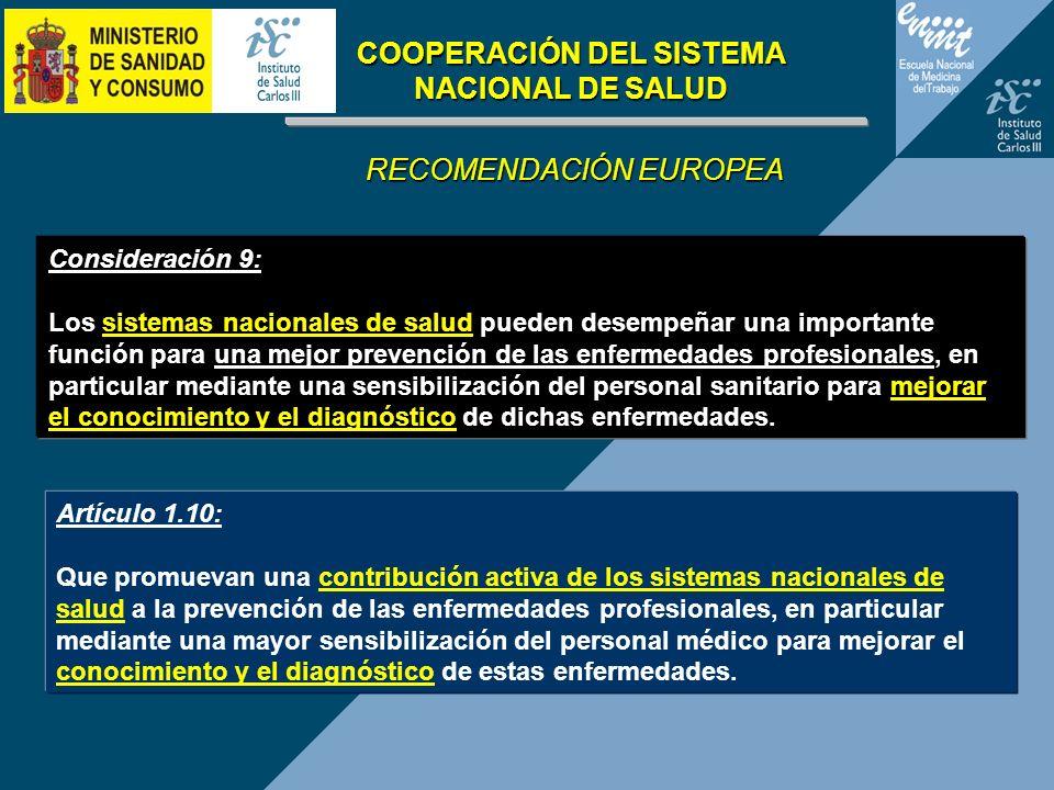 COOPERACIÓN DEL SISTEMA NACIONAL DE SALUD