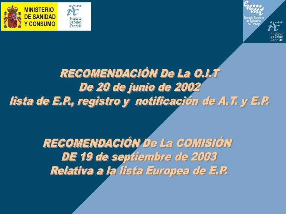 RECOMENDACIÓN De La O.I.T De 20 de junio de 2002