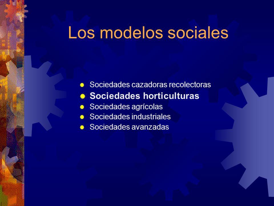 Los modelos sociales Sociedades horticulturas