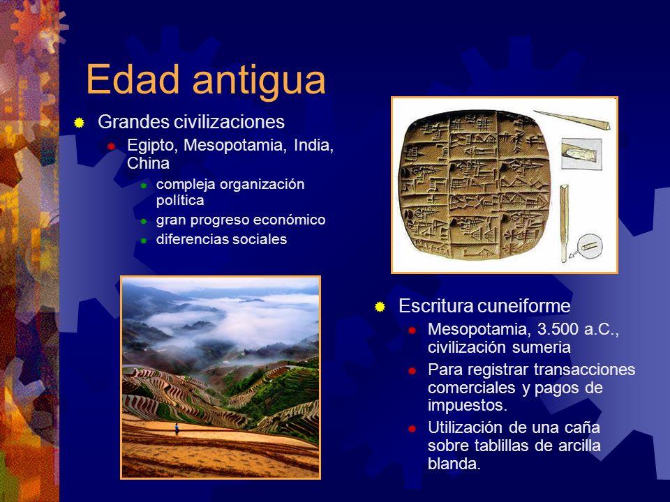 Edad antigua Grandes civilizaciones Escritura cuneiforme