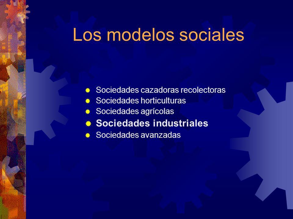 Los modelos sociales Sociedades industriales