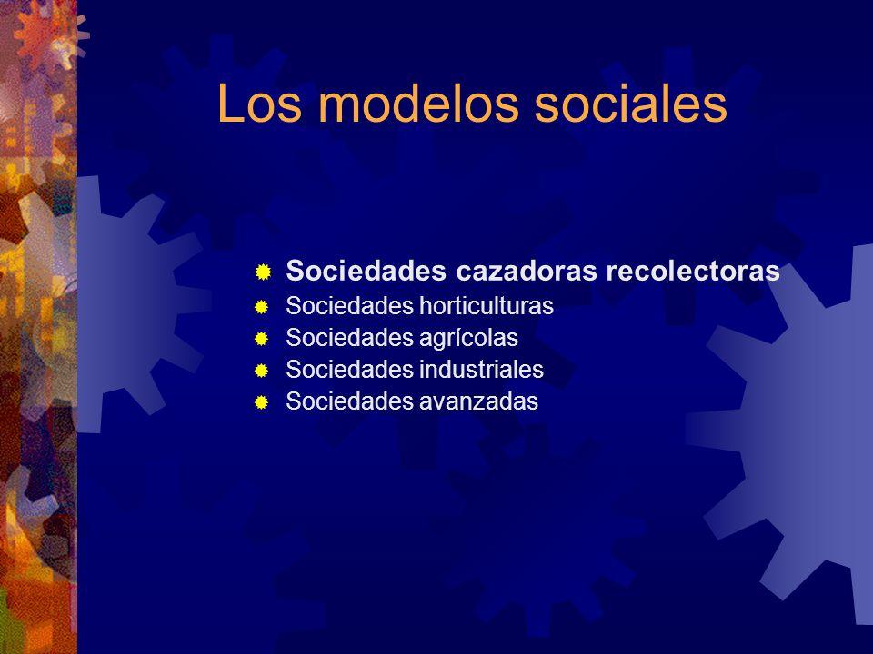 Los modelos sociales Sociedades cazadoras recolectoras