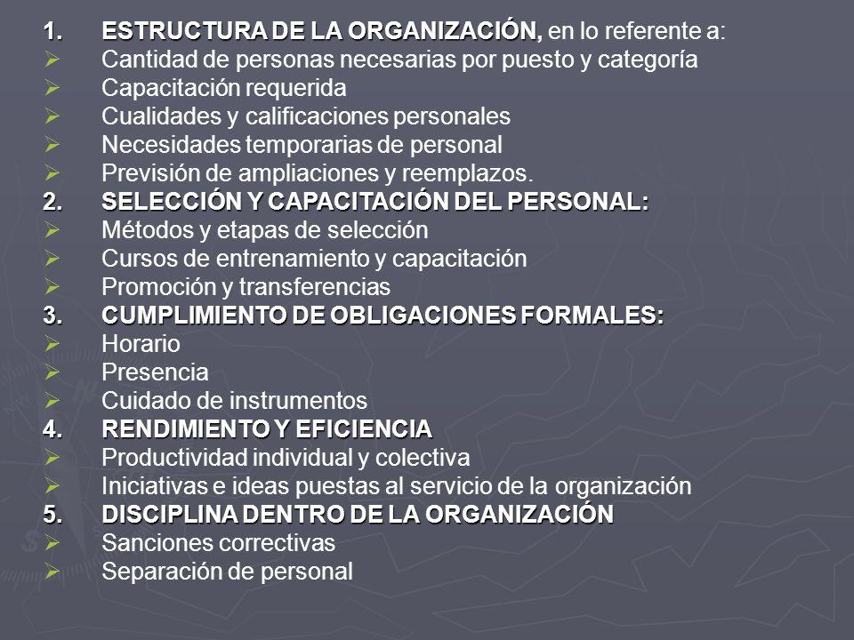 ESTRUCTURA DE LA ORGANIZACIÓN, en lo referente a: