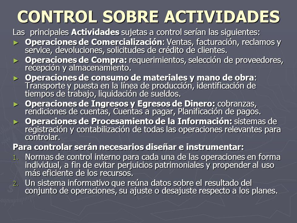CONTROL SOBRE ACTIVIDADES