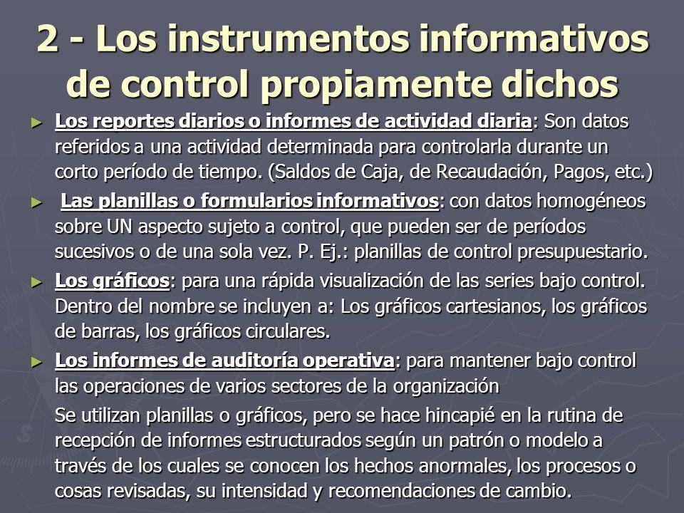 2 - Los instrumentos informativos de control propiamente dichos