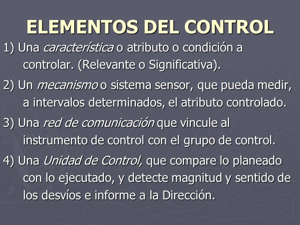 ELEMENTOS DEL CONTROL 1) Una característica o atributo o condición a controlar. (Relevante o Significativa).