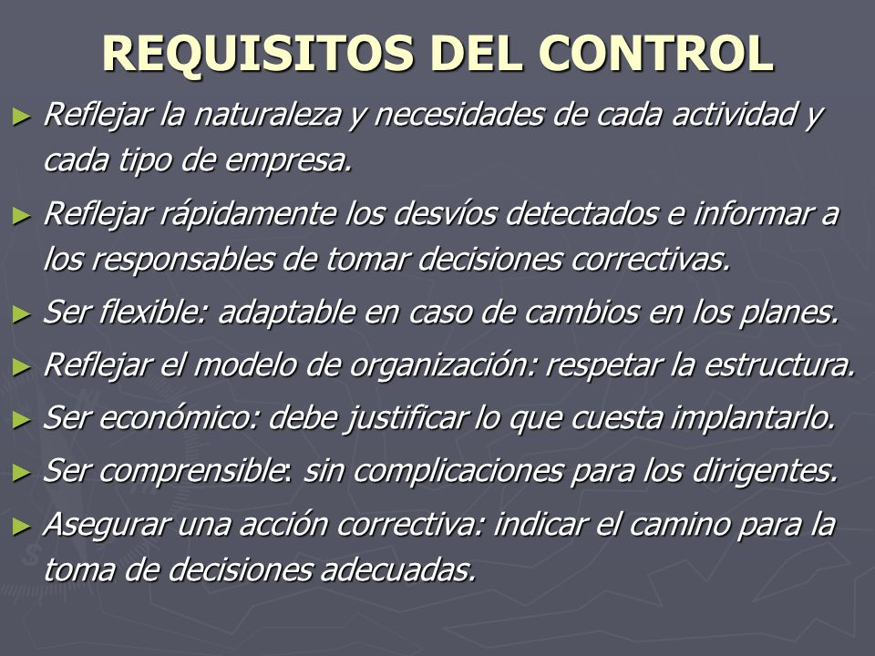 REQUISITOS DEL CONTROL