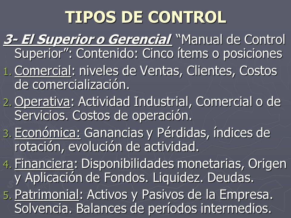 TIPOS DE CONTROL 3- El Superior o Gerencial Manual de Control Superior : Contenido: Cinco ítems o posiciones.