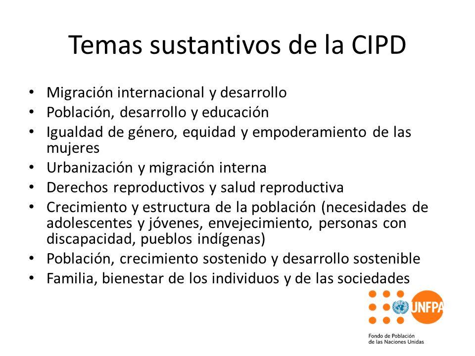 Temas sustantivos de la CIPD