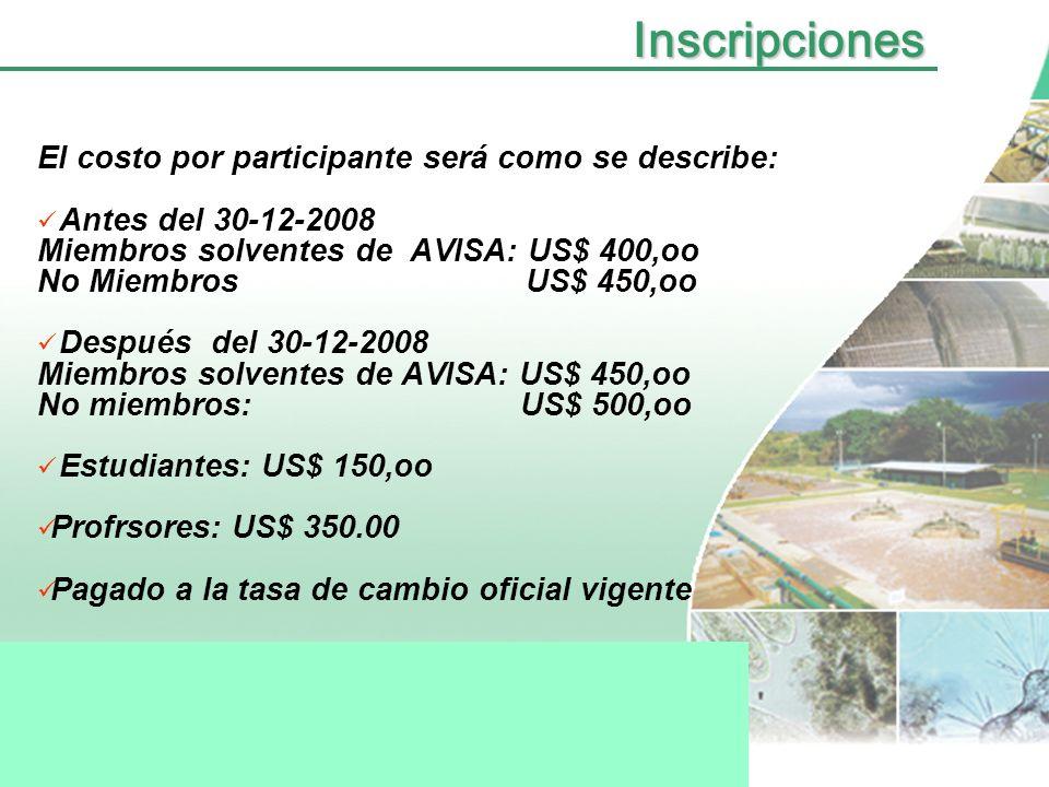 Inscripciones El costo por participante será como se describe: