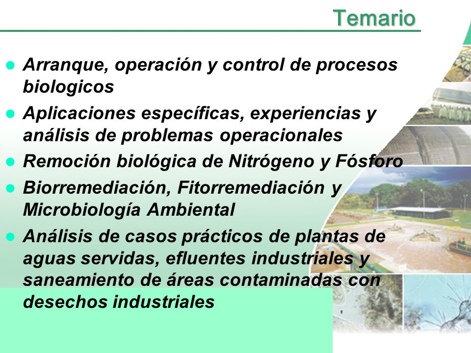 Temario Arranque, operación y control de procesos biologicos