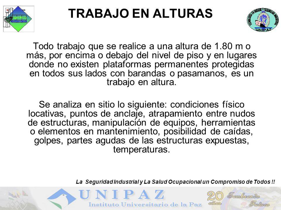 TRABAJO EN ALTURAS La Seguridad Industrial y La Salud Ocupacional un Compromiso de Todos !!