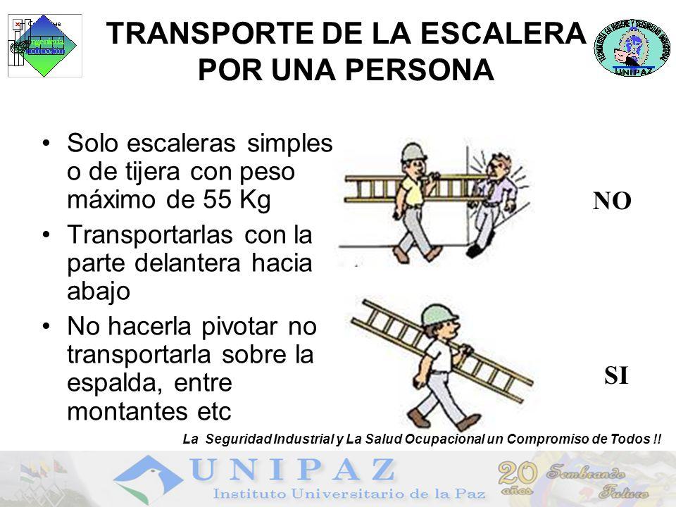 TRANSPORTE DE LA ESCALERA POR UNA PERSONA