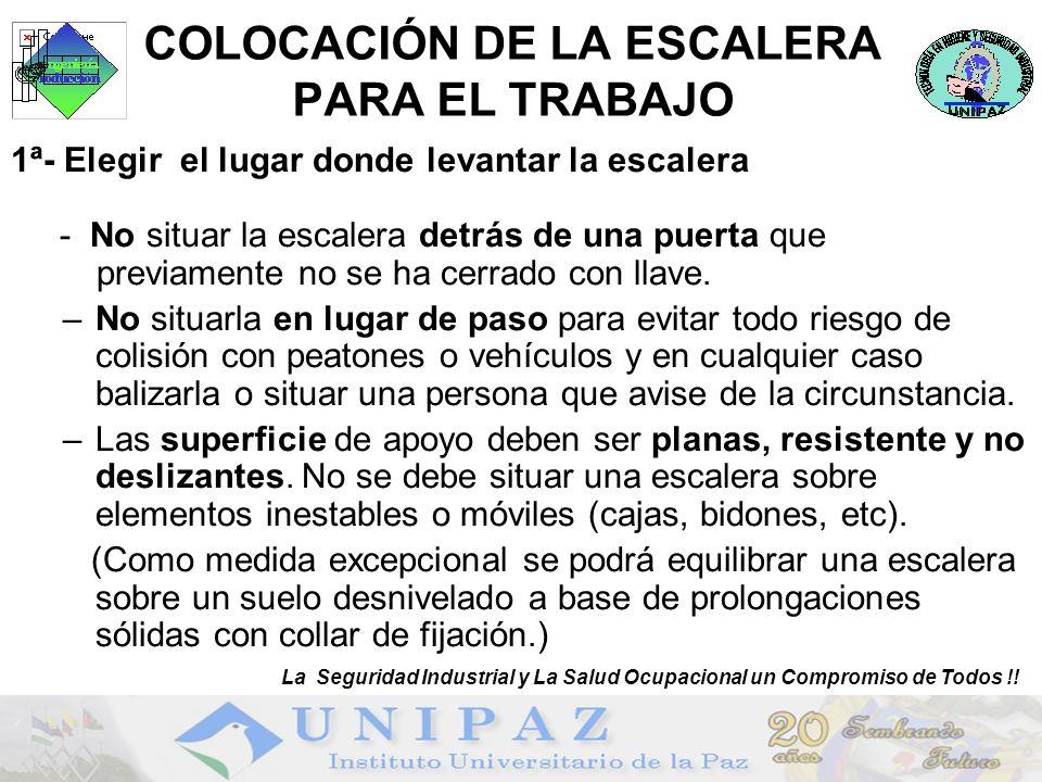 COLOCACIÓN DE LA ESCALERA PARA EL TRABAJO