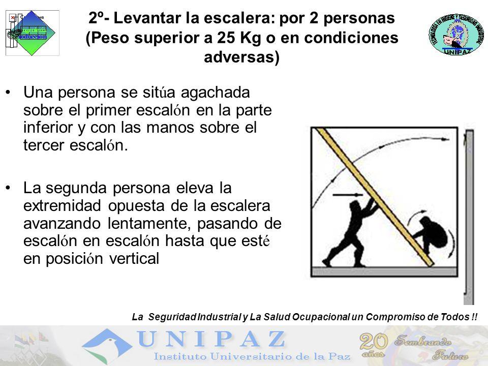 2º- Levantar la escalera: por 2 personas (Peso superior a 25 Kg o en condiciones adversas)