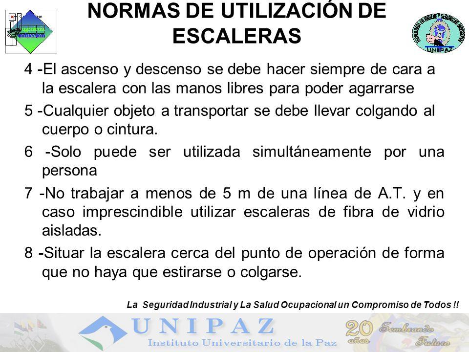 NORMAS DE UTILIZACIÓN DE ESCALERAS