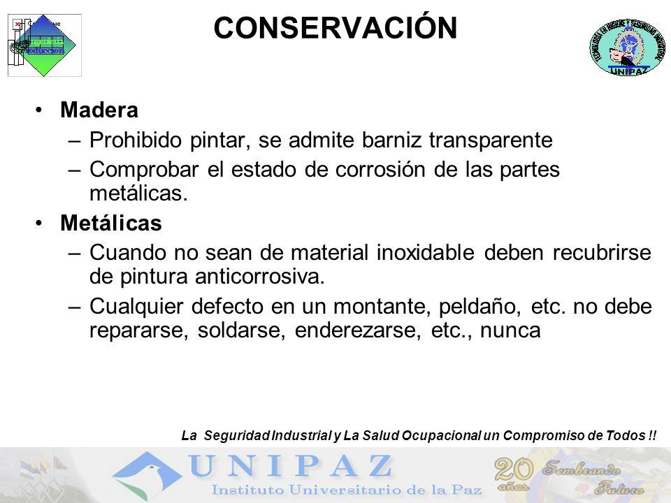 CONSERVACIÓN Madera Prohibido pintar, se admite barniz transparente
