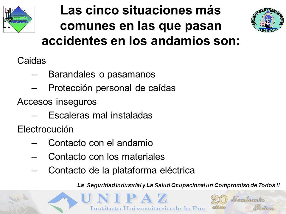 Las cinco situaciones más comunes en las que pasan accidentes en los andamios son: