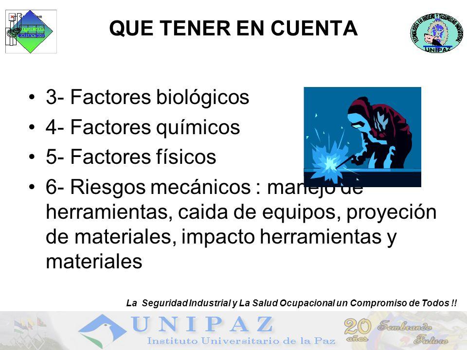 QUE TENER EN CUENTA 3- Factores biológicos 4- Factores químicos