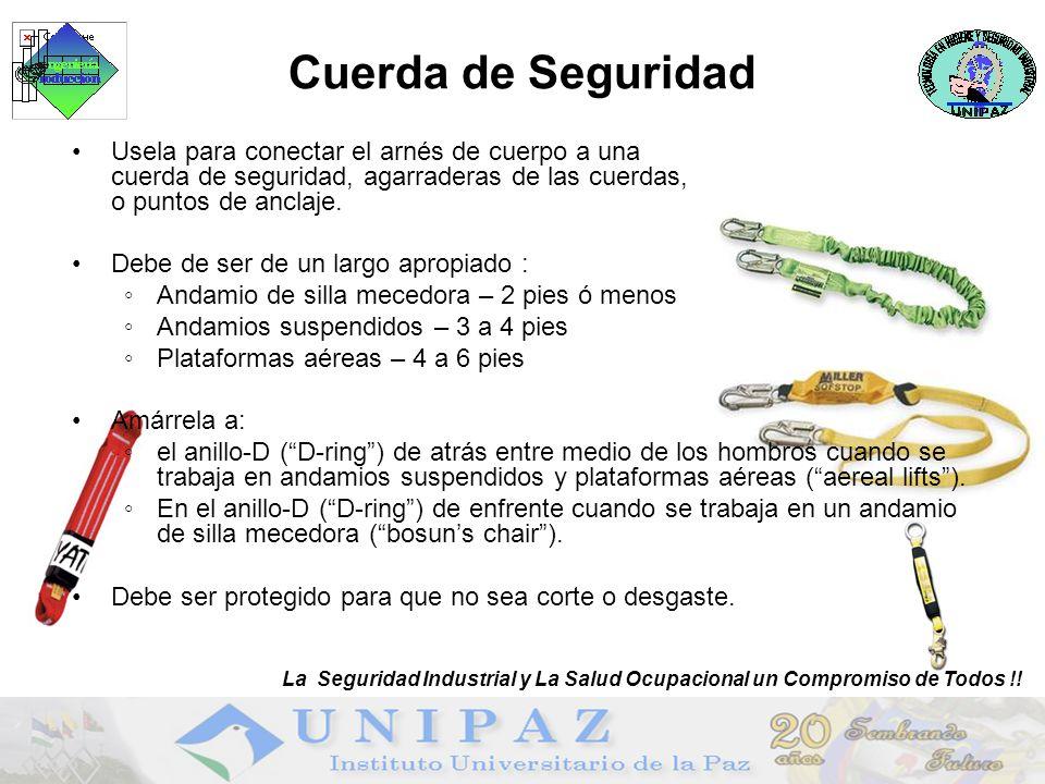 Cuerda de Seguridad Usela para conectar el arnés de cuerpo a una