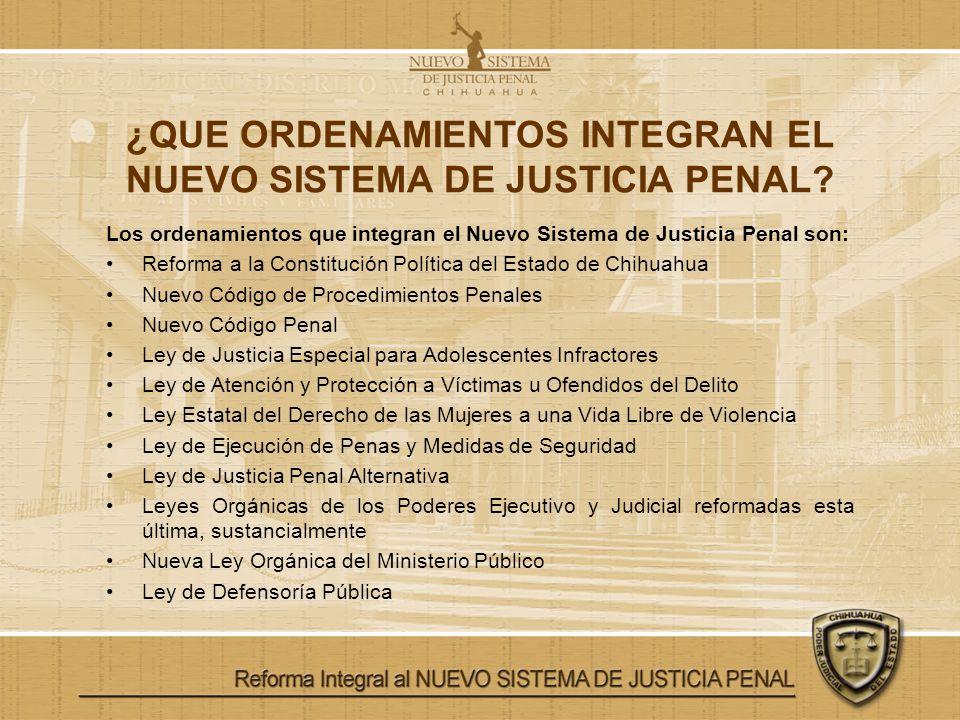 ¿QUE ORDENAMIENTOS INTEGRAN EL NUEVO SISTEMA DE JUSTICIA PENAL