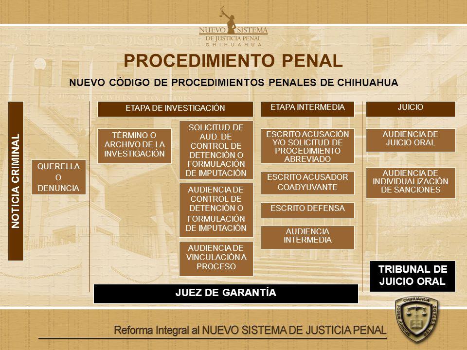 PROCEDIMIENTO PENAL NUEVO CÓDIGO DE PROCEDIMIENTOS PENALES DE CHIHUAHUA. ETAPA DE INVESTIGACIÓN. ETAPA INTERMEDIA.