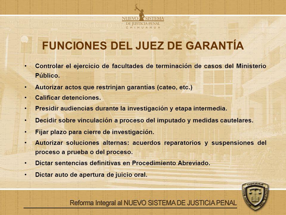 FUNCIONES DEL JUEZ DE GARANTÍA