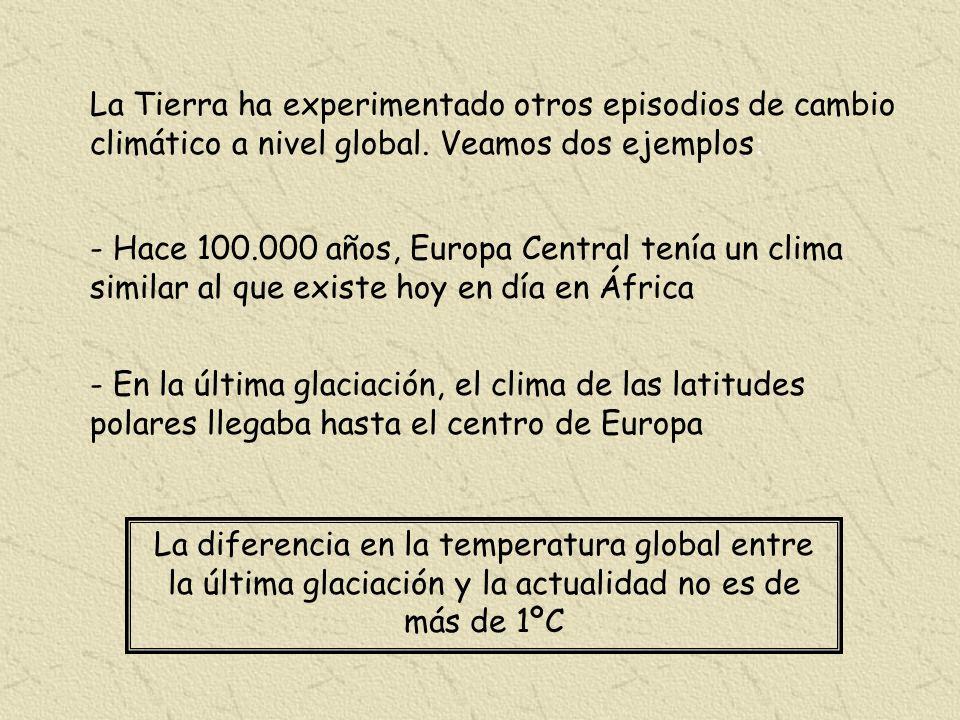 La Tierra ha experimentado otros episodios de cambio climático a nivel global. Veamos dos ejemplos: