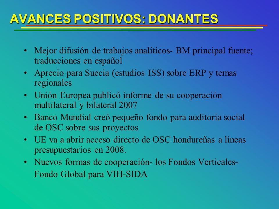 AVANCES POSITIVOS: DONANTES