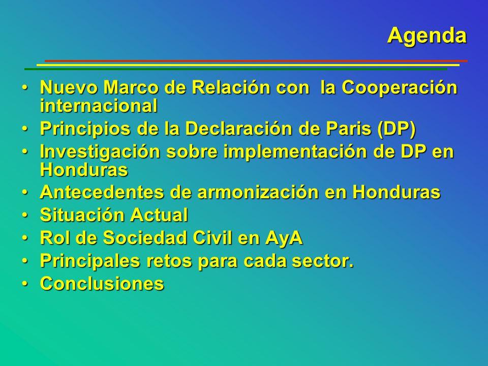 Agenda Nuevo Marco de Relación con la Cooperación internacional