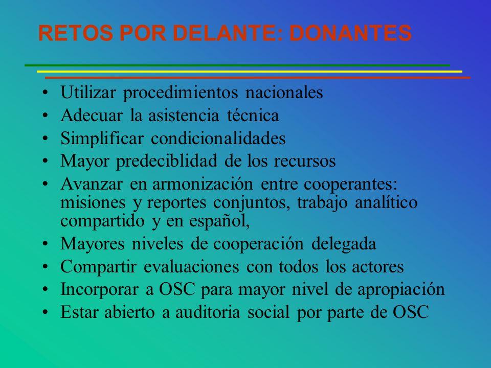 RETOS POR DELANTE: DONANTES