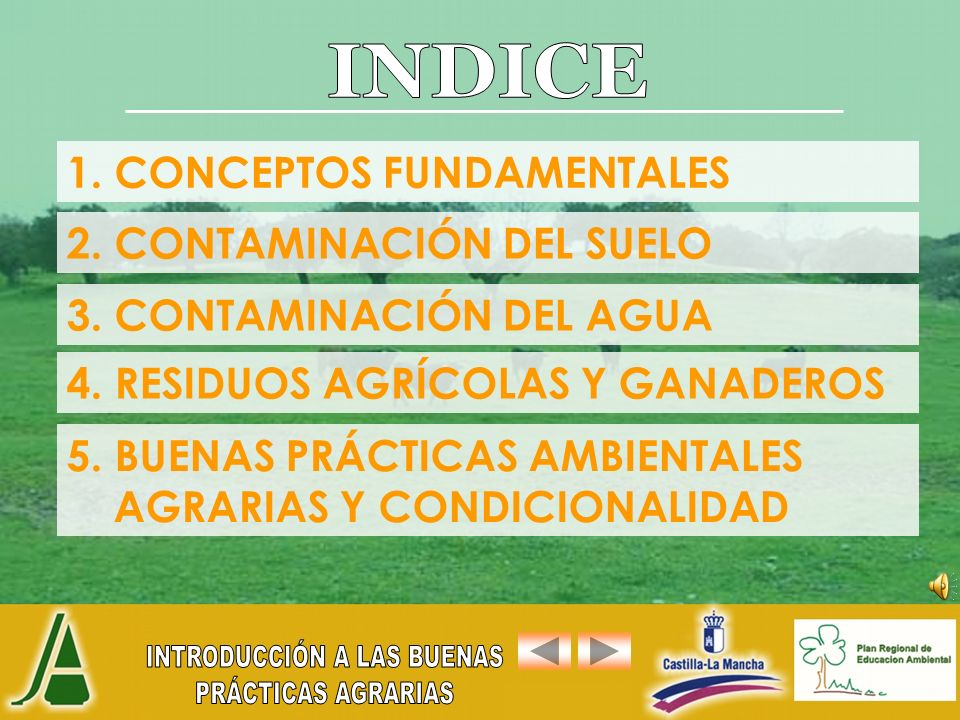 INDICE 1. CONCEPTOS FUNDAMENTALES 2. CONTAMINACIÓN DEL SUELO