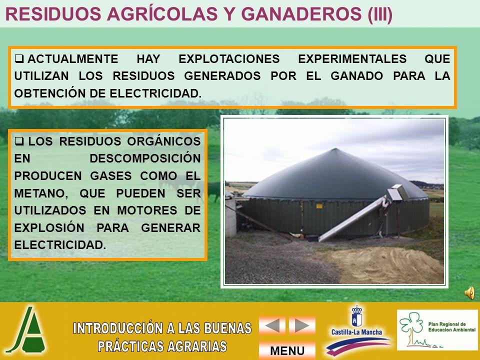 RESIDUOS AGRÍCOLAS Y GANADEROS (III)
