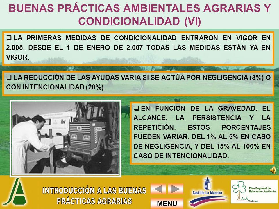 BUENAS PRÁCTICAS AMBIENTALES AGRARIAS Y CONDICIONALIDAD (VI)
