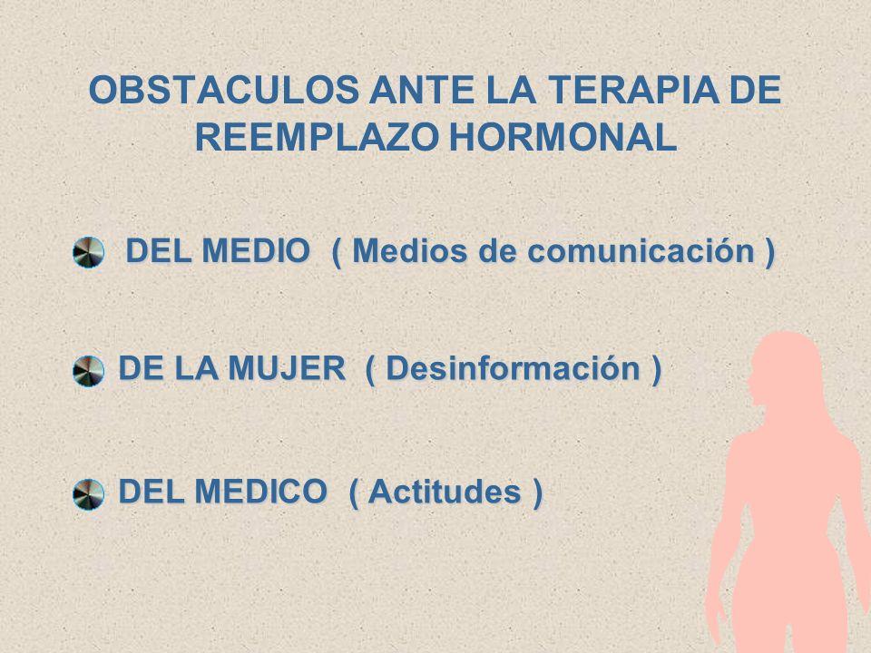 OBSTACULOS ANTE LA TERAPIA DE REEMPLAZO HORMONAL