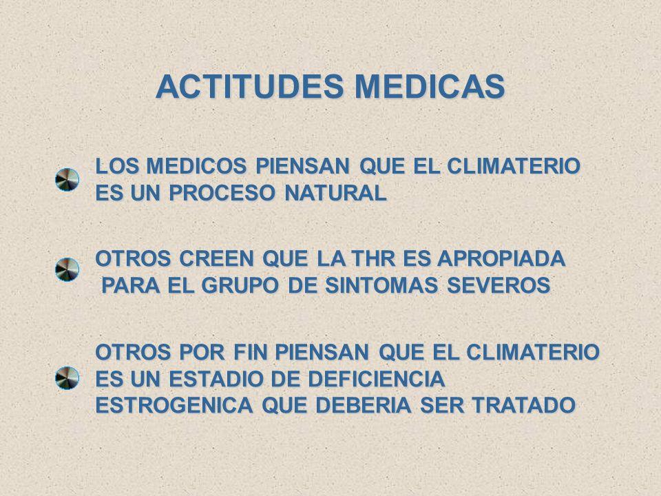 ACTITUDES MEDICAS LOS MEDICOS PIENSAN QUE EL CLIMATERIO ES UN PROCESO NATURAL. OTROS CREEN QUE LA THR ES APROPIADA.