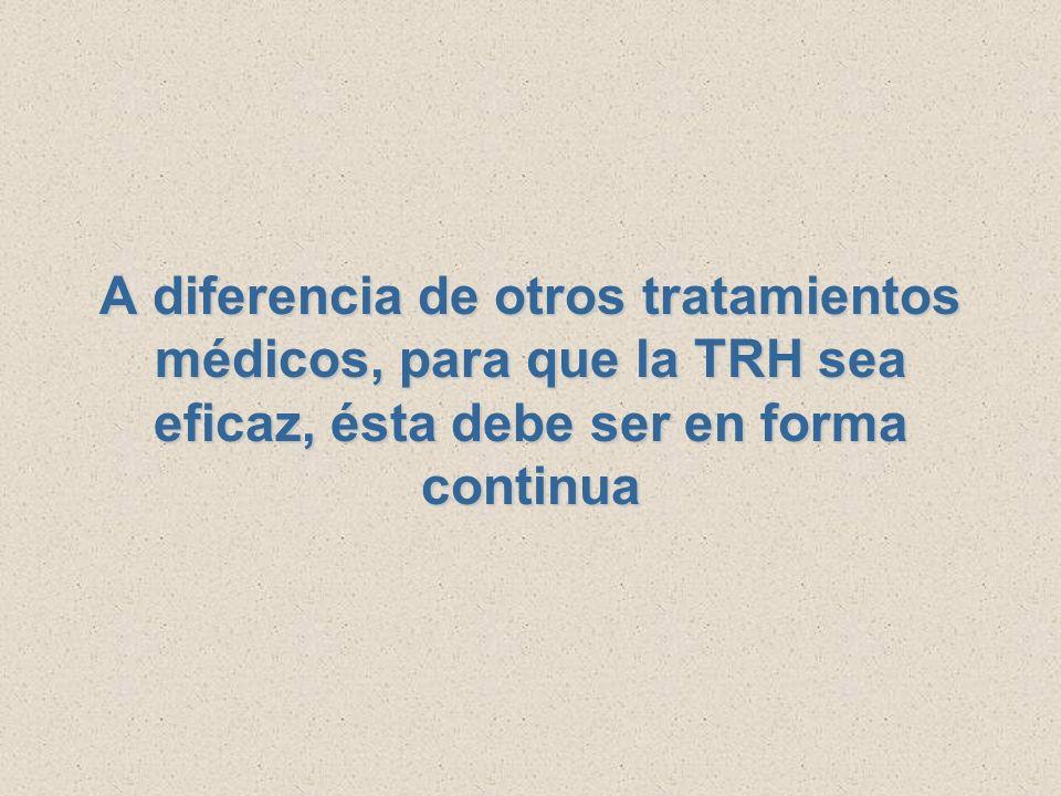A diferencia de otros tratamientos médicos, para que la TRH sea eficaz, ésta debe ser en forma continua